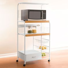 BrylaneHome Country Kitchen Microwave Cart with Power Strip (WHITE Small Kitchen Cart, Kitchen Island Cart, Kitchen Carts, Kitchen Gadgets, Dorm Room Desk, Cozy Dorm Room, Microwave In Kitchen, Microwave Cart, Small Space Living