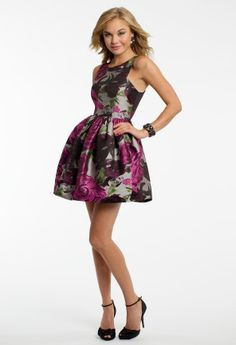 City Triangles rose print brocade scoop neck dress with princess seam bodice and party skirt<br><br>•Rose printed dress<br>•Scoop neckline<br>•Fit and flare skirt