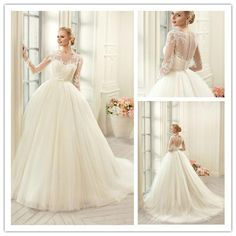 Muslim Plus Size Long Sleeves Lace Wedding Dresses 2016 Sexy See Through Corset Wedding Bridal Gowns Vestido…
