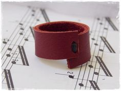 Gothic Leather Ring Wine Red Ring Leather Band by ChrisOsCreations, €8.50