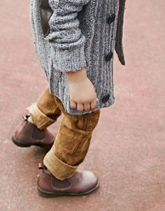 grandpa sweater and boots.  Not so much on sweater. But rugged boots with worn out jeans.  Yes.