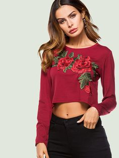 OneBling Floral Embroidered Embellished Long Sleeve Crop T-Shirts Cami Tops, Fit, Floral, Clothes For Women, Long Sleeve, Stuff To Buy, Shopping, Collection, Fashion