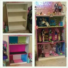 Make a dollhouse from painting a bookshelf