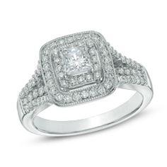 1-1/4 CT. T.W. Princess-Cut Diamond Double Frame Bridal Set in 14K White Gold