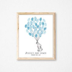 Your place to buy and sell all things handmade Baby Shower Fingerprint, Party Printables, Guestbook, Unique Jewelry, Handmade Gifts, Frame, Etsy, Kid Craft Gifts, Picture Frame