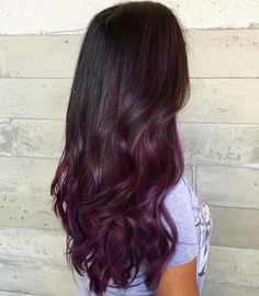 Burgundy and Violet Long Ombre Hair