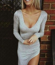 Grey low front dress