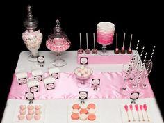 pink black white sweet table | Sweet Designs - Pink & Black Dessert Table 1