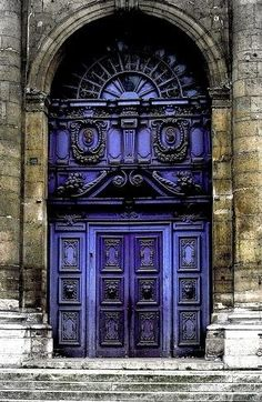 Beautiful Baroque door, Paris ~ I need something in this color. so beautiful. Cool Doors, The Doors, Unique Doors, Windows And Doors, Door Knockers, Door Knobs, Purple Door, When One Door Closes, Grand Entrance