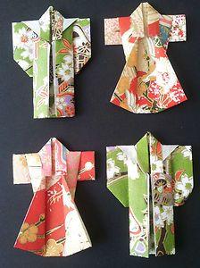 Japanese Washi Paper Origami Kimonos 4 Pieces in Beautiful Woodblock Prints | eBay