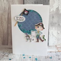 Whiz Kids Pirate Shaker Its your Birthday by design team member Angie Crafts To Do, Crafts For Kids, Shaker Cards, Kids Cards, It's Your Birthday, Pirates, Decoupage, Vibrant, Team Member