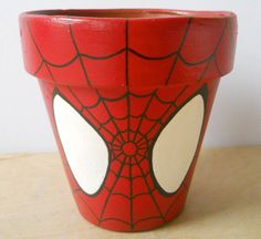 Spiderman Marvel Superhero Comic Book painted flower by GingerPots Clay Pot Projects, Clay Pot Crafts, Diy And Crafts, Arts And Crafts, Flower Pot People, Clay Pot People, Painted Clay Pots, Painted Flower Pots, Painted Pebbles