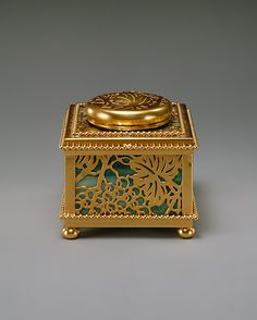 Covered Inkwell Tiffany Studios, New York City, NY, American, gilt bronze, favrile glass, circa 1905-1920