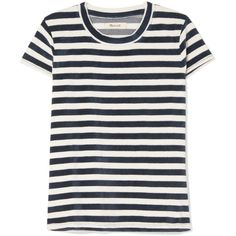 Madewell Basil striped cotton-blend velour T-shirt found on Polyvore featuring tops, t-shirts, shirts, navy, tees, stripe t shirt, white t shirt, stripe tee, white stripes t shirt and pattern t shirt