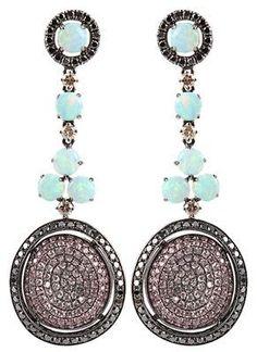 Wendy Yue Earrings opal sapphire black diamond. Saved by Antonella B. Rossi