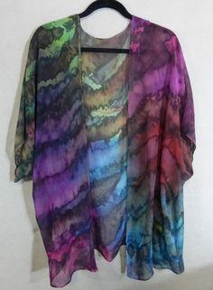 Hand Painted Silk Chiffon Blouse Cloudy Rainbow by Jansilks