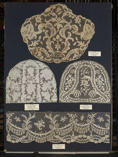 Cap crowns and flounce, French, Argentan needle lace 1730-1769