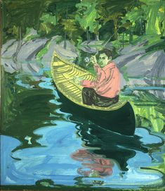 """Silas in a Canoe,"" Neil Welliver, 1968, oil on canvas, 48 x 42"", Portland Museum of Art."