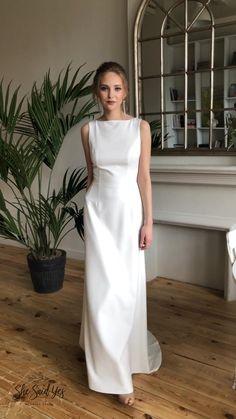 Boat Neck Wedding Dress, Plain Wedding Dress, Simple Wedding Gowns, Simple Gowns, Classic Wedding Dress, Dream Wedding Dresses, Bridal Dresses, High Neck Wedding Dresses, Bateau Wedding Dress
