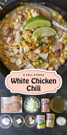 This white chicken chili is super easy to make and makes for the best dinner recipe. This recipe is full of flavor and has tons of nutrients, this recipe will become your favorite meal to enjoy in the fall and wintertime. This recipe is super hearty and easy to make, perfect for the whole family. #whitechickenchili #chilirecipes #chili #souprecipes #dinnerrecipes #dinnerideas #easydinnerrecipes #comfortfood #familydinner