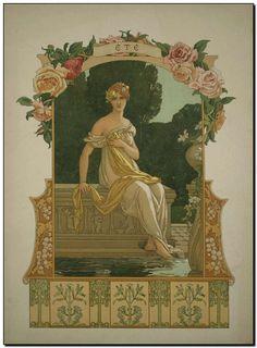 "French art nouveau period ""Seasons"" allegories by Elisabeth Sonrel, 1890."