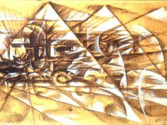 Giacomo Balla, futurista, realizza nel 1913 un'opera su cartone che rappresenta l'idea di velocità espressa da un'automobile