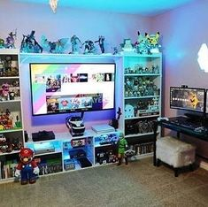 A Perfect Game Room What do say Guys Yes or No Credit levelupgamingtech gamer setup toys tech trend Best Gaming Setup, Gamer Setup, Gaming Room Setup, Desk Setup, Deco Gamer, Boys Game Room, Gamer Bedroom, Geek Room, Inside A House