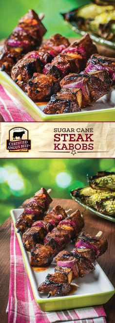 It's time to fire up your grill and make these Sugar Cane Steak Kabobs! Made with Certified Angus Beef ®️️ brand sirloin steak, portabello mushrooms, red onion, and a delicious blend of spices, these kabobs make the perfect outdoor dinner party recipe! Best Beef Recipes, Kabob Recipes, Barbecue Recipes, Grilling Recipes, Appetizer Recipes, Cooking Recipes, Appetizers, Grilling Ideas, Meat Recipes