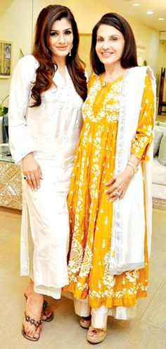 Raveena Tandon with Poonam Soni at the launch of at Poonam Soni's exclusive swish store.
