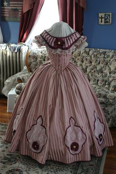 custom authentic Civil War era, Victorian, 1860's, 19th century ball gown evening gown by BatisteAndFrenchLace.   https://www.facebook.com/BatisteAndFrenchLace  www.etsy.com/shop/BatisteandFrenchLace
