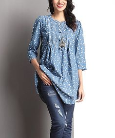 Love this Chambray Star Notch Neck Pin Tuck Tunic on #zulily! #zulilyfinds