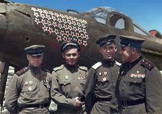 Soviet aces Capt Aleksandr Klubov, Maj Grigorii Rechkalov, Lt An