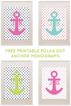 Free Polka Dot Anchor Printable Monogram Maker from printablemonogram.com #freeprintable