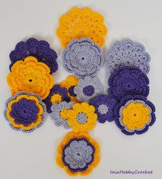 15 beautiful crochet flowers appliques, great embellishments for your scrapbooking and sewing projects.  Made from a lovely 100% cotton crochet thread in purple, lilac and yellow.  This collection includes:  6 three-layer flowers approx. 5 cm (2); 3 mini doilies approximately 6 cm (little less than 21/2); 6 daisies 3,5 cm (1 1/4).  Need them in different colours? See my others listing here https://www.etsy.com/it/shop/IaiaHobbyCrochet?section_id=172625...