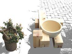 水鉢を置くための台を、15cm角ヒノキ柱材で。(2008.09)