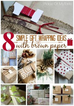 8 SIMPLE GIFT WRAPPING IDEAS WITH BROWN PAPER/