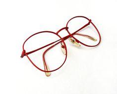 vintage 1970s eye glasses big red metal frames by findswithapast 2000