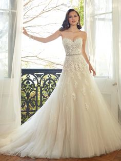 Gorgeous Sophie Tolli wedding gown. Front view.