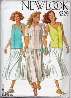 New Look - 6329 - Lovely summer vintage sewing pattern for a skirt and top. The pattern is for a long flowing skirt and top that can be sleeveless or short