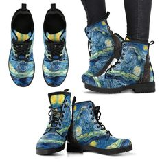 Vincent Van Gogh Starry Night Womens Leather Boots - Leather Boots - Ideas of Leather Boots - Vincent Van Gogh Starry Night Womens Leather Boots