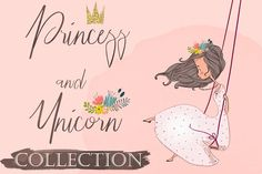 Pink Unicorn with Princess by Eve_Farb on @creativemarket Business Illustration, Pencil Illustration, Graphic Illustration, Creative Illustration, Cartoon Unicorn, Cute Unicorn, Color Vector, Vector Design, Graphic Design