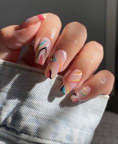 Cute Acrylic Nail Designs, Simple Acrylic Nails, Summer Acrylic Nails, Best Acrylic Nails, Funky Nail Designs, Gel Nail Art, Nail Designs Bling, Acrylic Nail Designs Coffin, Acrylic Nail Art