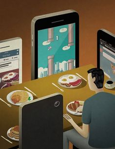 Satirical Illustrations Show Our Addiction To Technology - Art Is Often A Mirror Reflecting The Social Issues And Problems Of The Day With The Rise Of Ubiquitous Internet Smart Phones And Other Internet Enabled Devices Being Online All The Time Is Not On Satire, Technology Addiction, Satirical Illustrations, Humor Grafico, Social Issues, Thought Provoking, Street Art, Illustration Art, Magazine Illustration