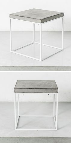 Industrial Interior Design Idea - Concrete and Steel Tables // This table with a simple steel frame and a concrete top could easily help to industrialize a space.