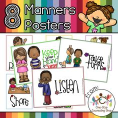 This set of #posters is great for helping students who struggle with following #school rules and using good #manners. It contains 8 different posters in both colored and black & white versions!