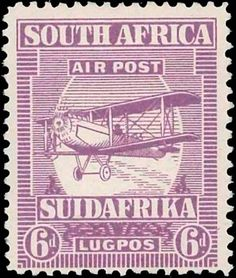 South Africa 1925. Airmail. Biplane. 6d, perf. 12