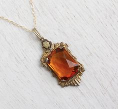 Antique Art Deco Amber Glass Necklace - Vintage 1930s Faceted Orange Brown Jewelry / Floral Filigree