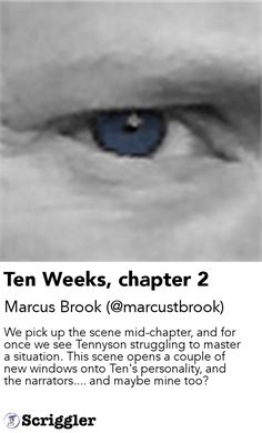 Ten Weeks, chapter 2 by Marcus Brook (@marcustbrook) https://scriggler.com/detailPost/story/53941 We pick up the scene mid-chapter, and for once we see Tennyson struggling to master a situation. This scene opens a couple of new windows onto Ten's personality, and the narrators.... and maybe mine too?