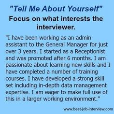 Tell me about yourself is a tough interview question. Use these expert guidelines and excellent sample interview answers to get it right. Get ready to impress. Job Interview Answers, Tough Interview Questions, Job Interview Preparation, Job Interview Tips, Job Interviews, Interview Quotes, Job Resume, Resume Tips, Cv Tips
