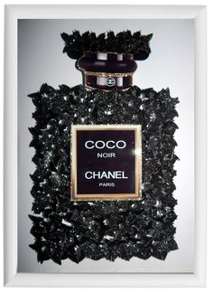 Coco Chanel butterfly glitter 3d picture with lot's of black glitter butterflies, Unique by Flutterframes on Etsy